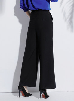 Casual Black Belted Wide Leg Pants