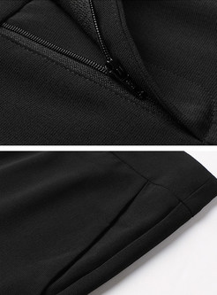 Trendy Black Slit Pencil Pants