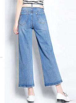 Retro Blue Distressed Denim Shift Wide Leg Pants