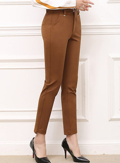 Casual Daily Brown Elastic Pencil Pants With Nail Bead