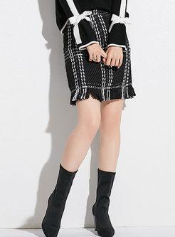 Grid Tassel Patch Sheath Mini Skirt
