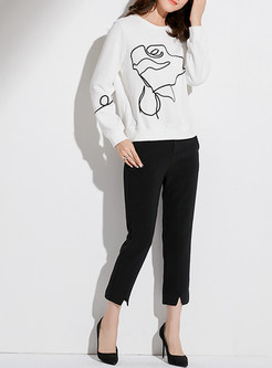 Casual White Embroidered O-neck Sweatshirt