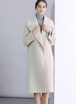 Casual Light Beige Turn-down Collar Wool Knee-length Coat