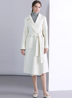 White Lapel Wool Coat Belted With Side Pockets