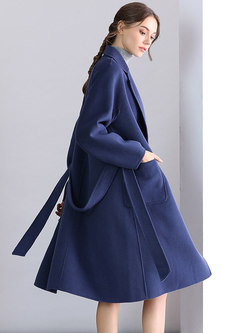 Brief Blue Cashmere Tie Pockets Knee-length Coat