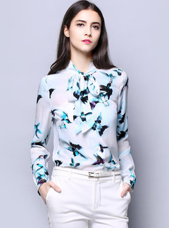 Chic Print Stand Collar Tied Slim Blouse
