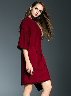 Stylish Half Sleeve Wool Dress With Rough Selvedge Pockets