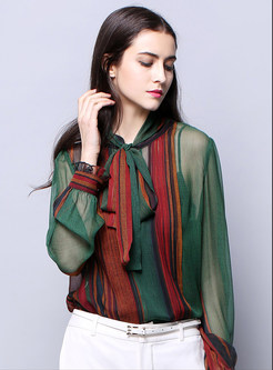 Multi Color Print Tied Slim Blouse