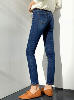 Deep Blue Denim Slim Pencil Pants