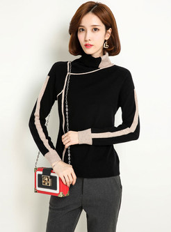 Stylish Turtle Neck Color-blocked Knitted Sweater