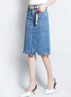 Blue Denim Asymmetric Frayed A Line Skirt