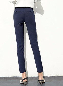 Casual Blue Denim Belted Straight Pencil Pants