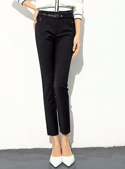 Stylish Black Denim Belted Straight Pencil Pants