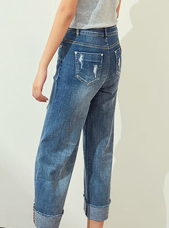 Ethnic Blue Tipped Hem Straight Pants With Ripped Detailing