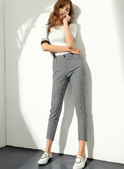 Chic Casual Grey Plaid High-Low Hem Overalls