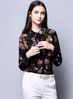Lapel Tied Print Single-breasted Silk Blouse