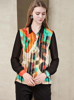 Lapel Long Sleeve Single-breasted Print Blouse