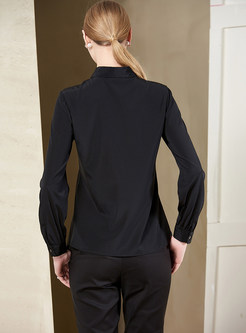 Mesh Splicing Perspective Single-breasted Slim Blouse