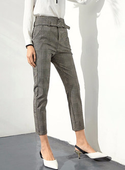 Trendy Plaid High Waist Belted Pencil Pants