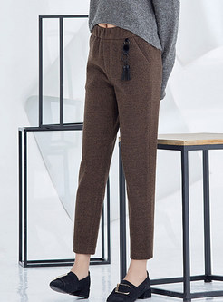 Casual Pocket Elastic Waist Thick Slim Pants