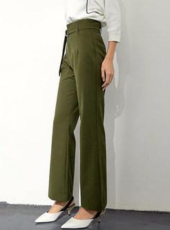 Solid Color Belted Pocket Slim Wide Leg Pants