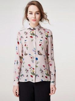 Fashion Turn Down Collar Print Slim Blouse