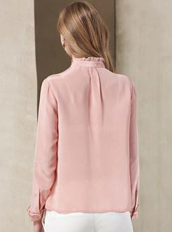 Stylish Pink Slim Stand Collar Falbala Blouse