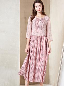 Fashion Pink Half Sleeve A Line Pleated Hem Dress