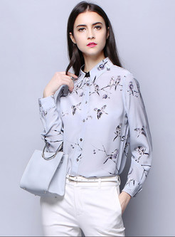 Trendy Silk Turn-down Collar Slim Blouse With Button