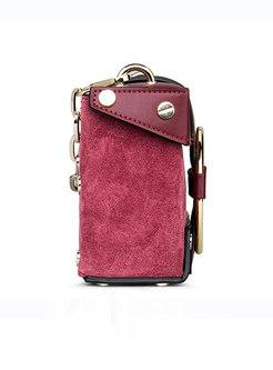 Chic Multicolor Ring Cowhide Handle & Crossbody Bag