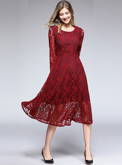 Pure Color O-neck Long Sleeve High Waist Slim Lace Dress