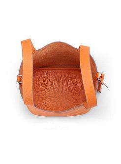 Fashion Orange Genuine Leather Open-top Handle & Bucket Bag