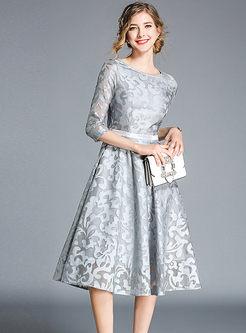 Lace Patchwork High Waisted Openwwork Skater Dress