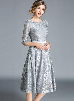 Lace Splicing O-neck High Waist Hollow Out Skater Dress
