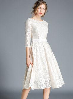 O-neck High Waisted Openwork Lace Dress