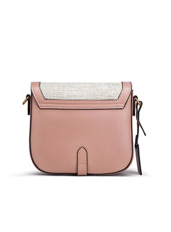 Vintage Chic Pink Genuine Leather Crossbody Bag