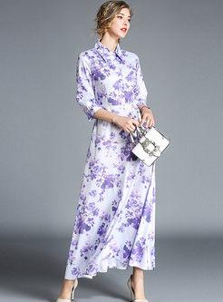 Chic Print Lapel Lantern Sleeve High Waist Hem Maxi Dress