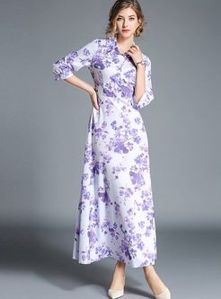 Chic Print Lapel Lantern Sleeve High Waist Hem Maxi Dress