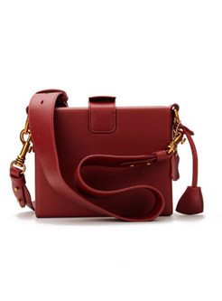 Vintage Wine Red Clasp Lock Leather Crossbody Bag