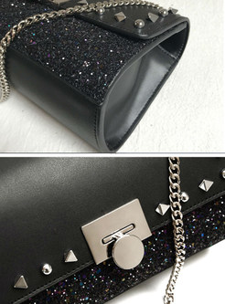 Black Rivet Sequined Clasp Lock Chain Crossbody Bag