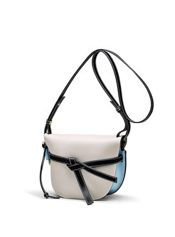 Stylish Genuine Leather Shell-shape Bowknot Crossbody Bag