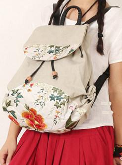 Vintage Embroidered Drawstring Canvas Backpack