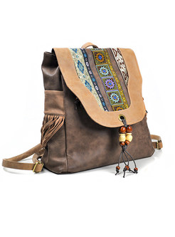 Ethnic PU Color-blocked Embroidered Hanging Beads Backpack