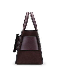 Fashion Wine Red Cowhide Frosted Top Handle Bag