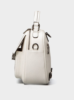 Brief White Solid Zip-up All Matched Top Handle & Backpack