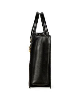 Brief Hollow Out Leather Top Handle Bag