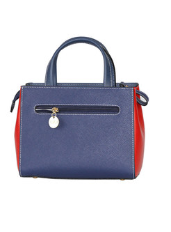 Color-blocked Leather Zippered Top Handle & Crossbody Bag