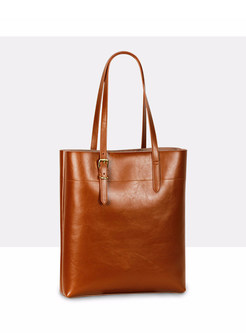 Solid Color Leather Open-top Bucket Bag