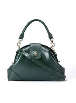 Green Shell-shape Frosted Top Handle & Crossbody Bag