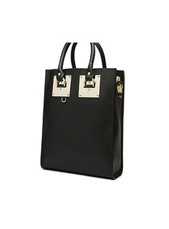 Retro Black Open-top Square Top Handle Bag